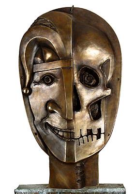 Narr und Tod, Lachen und Weinen, Bronze, Details einer kinetischen Skulptur, Einweihung  Fronleichnam 2003, Wiesbaden - Erbenheim